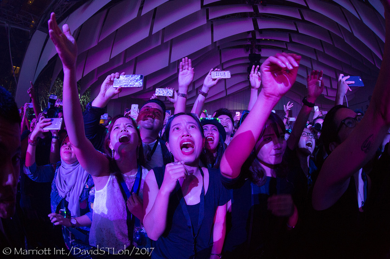 Imagine Dragons fans scream during their concert at Bangkok Marriott Marquis Queen's Park