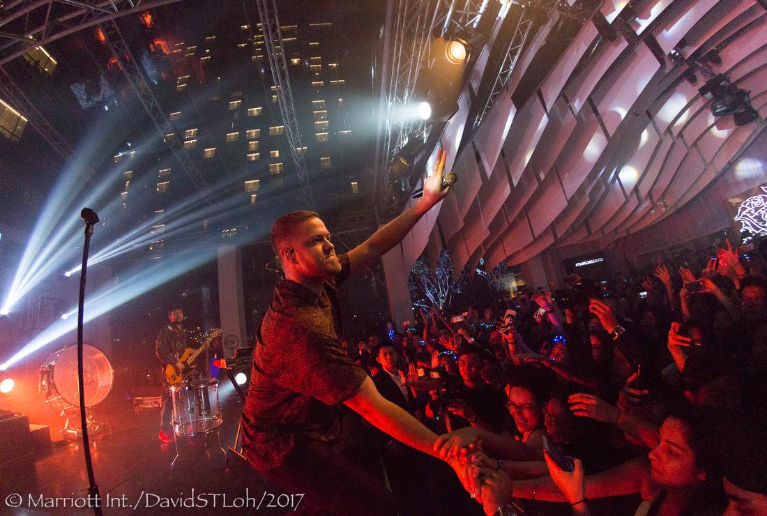 Imagine Dragons lead vocalist Dan Reynolds performs at Bangkok Marriott Marquis Queen's Park