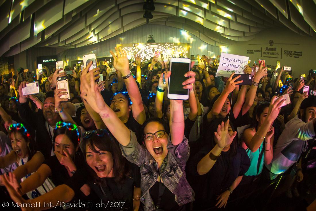 Imagine Dragons fans scream during their concert at Bangkok Marriott Marquis Queen's Park